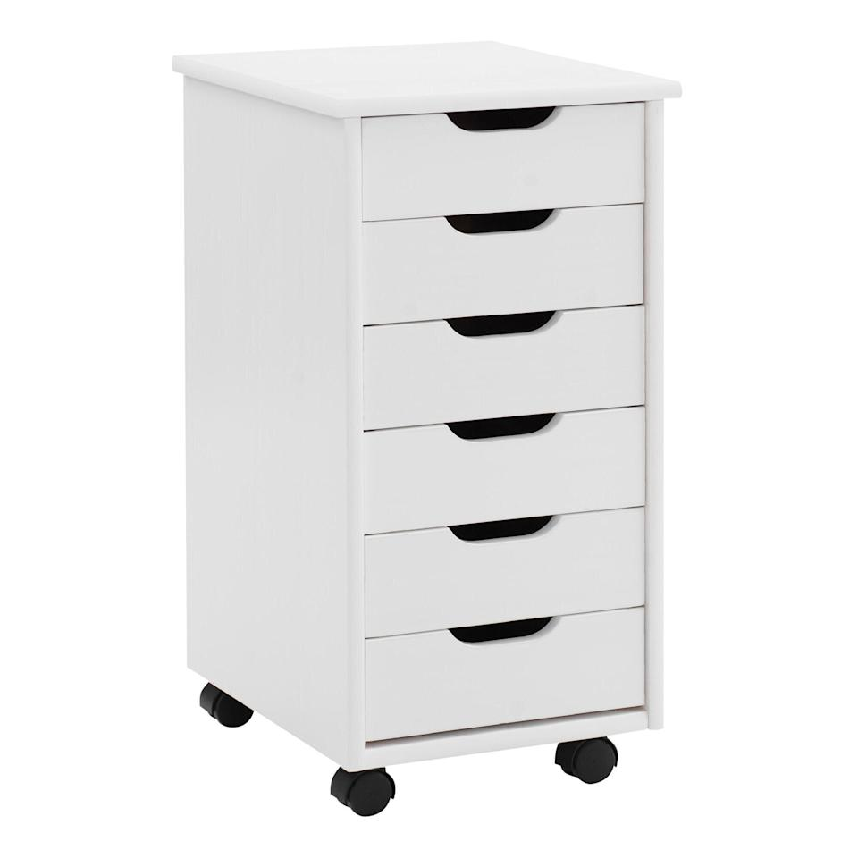 White Rolling Storage Cart with Drawers
