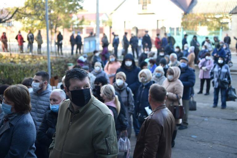 A line to vote in the village of Varnita, which is near the breakaway territory of Transnistria