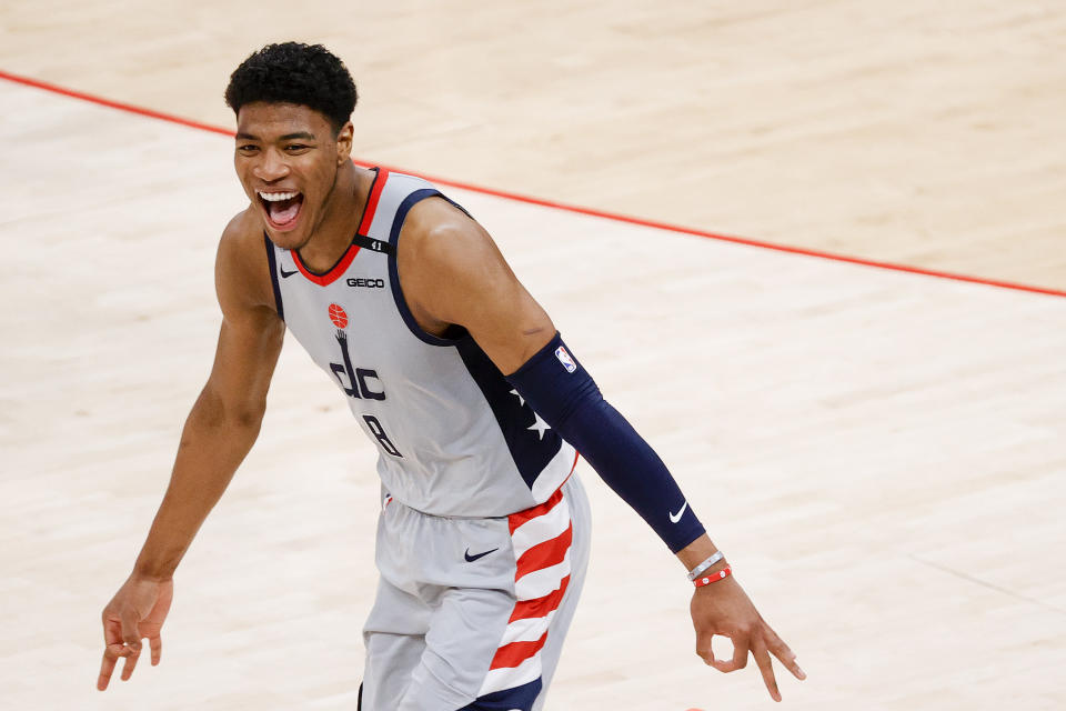 WASHINGTON, DC - MAY 31: Rui Hachimura #8 of the Washington Wizards celebrates in the fourth quarter against the Philadelphia 76ers during Game Four of the Eastern Conference first round series at Capital One Arena on May 31, 2021 in Washington, DC. NOTE TO USER: User expressly acknowledges and agrees that, by downloading and or using this photograph, User is consenting to the terms and conditions of the Getty Images License Agreement. (Photo by Tim Nwachukwu/Getty Images)