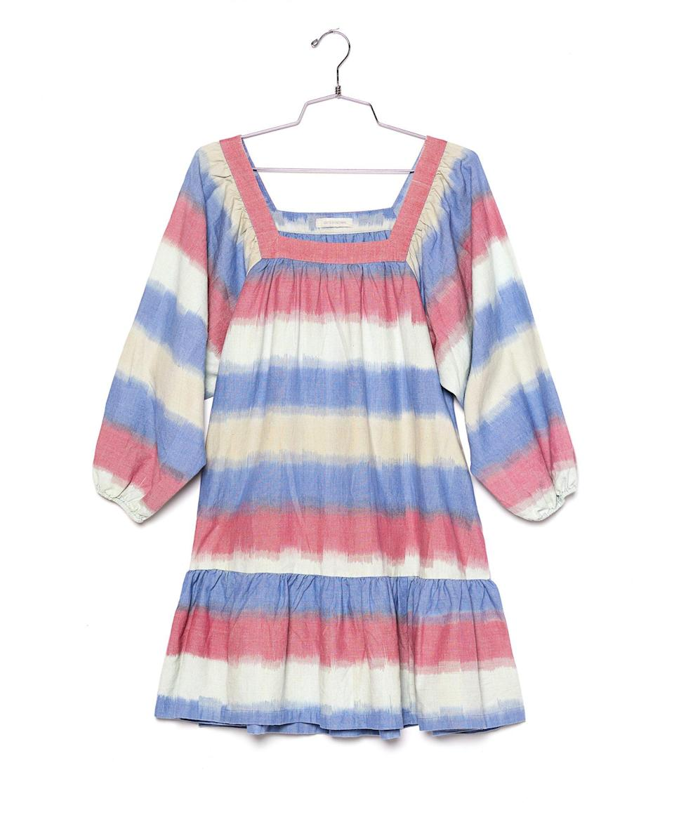 """<p><strong>Buy It!</strong> <a href=""""https://www.outerknown.com/products/miro-dress-adriatic-ikat?variant=31170661056535"""" rel=""""nofollow noopener"""" target=""""_blank"""" data-ylk=""""slk:&quot;Miro&quot; Dress, $298; outerknown.com"""" class=""""link rapid-noclick-resp"""">""""Miro"""" Dress, $298; outerknown.com</a></p>"""