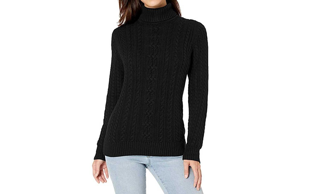 """<p>This beautiful turtleneck sweater sports pretty cable patterns and stretchy ribbed hems for maximum comfort and perfect fit. It has a slightly loose silhouette but it still looks elegant. The best thing about it is that it's made from 100 percent cotton, which means you're not going to spend a ton of money on dry-cleaning it.</p> <p><strong>To buy</strong>: <a href=""""https://www.amazon.com/gp/product/B07QB4Q7QR/ref=as_li_tl?ie=UTF8&tag=tlturtlenecksdec19-20&camp=1789&creative=9325&linkCode=as2&creativeASIN=B07QB4Q7QR&linkId=0706301bd4f9ab83862bf238ebabbdac"""">amazon.com</a>, $26</p>"""