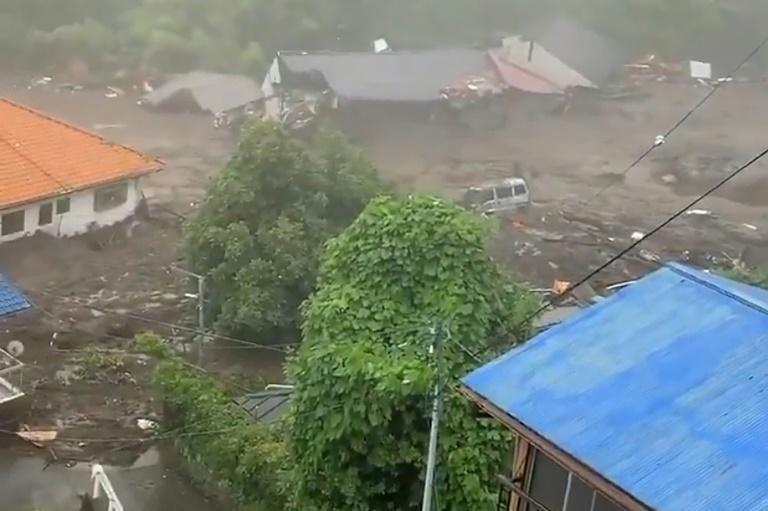 Television footage showed a torrent of mud obliterating buildings as it crashed down a hillside