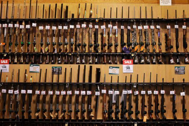 PHOTO: Guns sit on display at a Dick's Sporting Goods store in Paramus, N.J., March 6, 2012. (Victor J. Blue/Bloomberg via Getty Images)