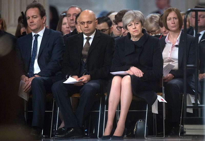 Sajid Javid and Theresa May at the St Paul's Cathedral memorial service