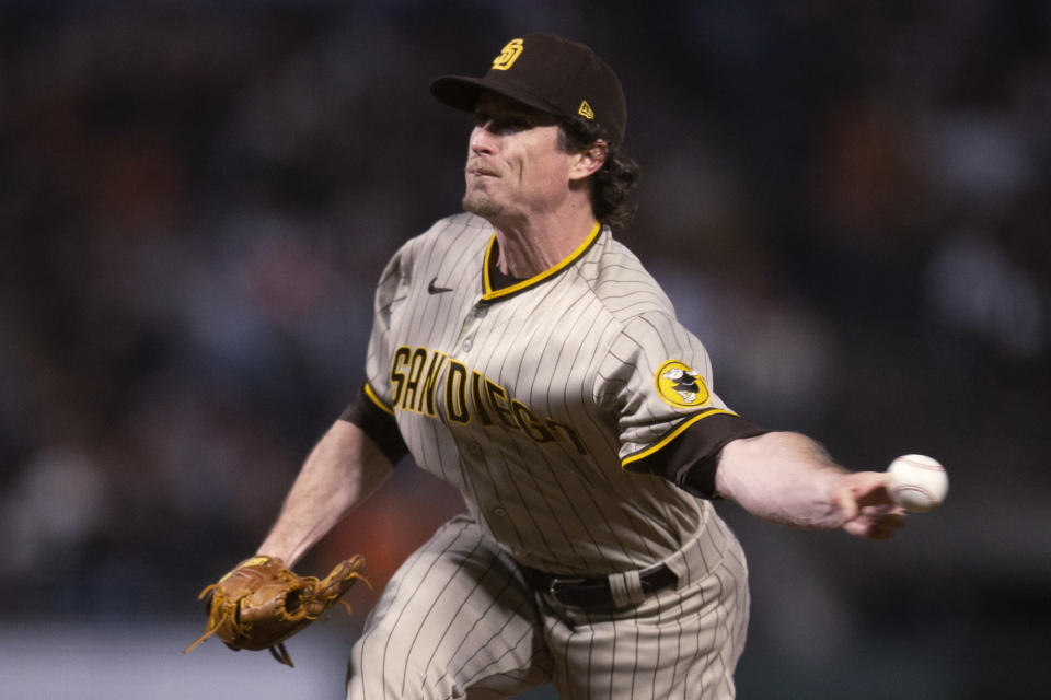 San Diego Padres pitcher Tim Hill delivers against the San Francisco Giants during the fourth inning of a baseball game Tuesday, Sept. 14, 2021, in San Francisco. (AP Photo/D. Ross Cameron)