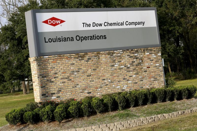Sign is seen at an entrance to a Dow Chemical Co plant in Plaquemine