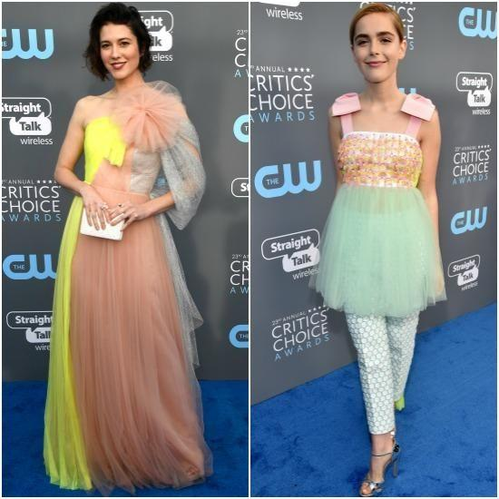 Injecting a pop of colour into the night was Mary Elizabeth Winstead and Kiernan Shipka, who opted for cotton candy pastel shades. Photo: Getty Images