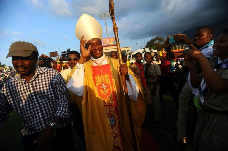 Haitian Cardinal Chibly Langlois leaves a Port-au-Prince stadium after presiding over a Mass on March 9, 2014