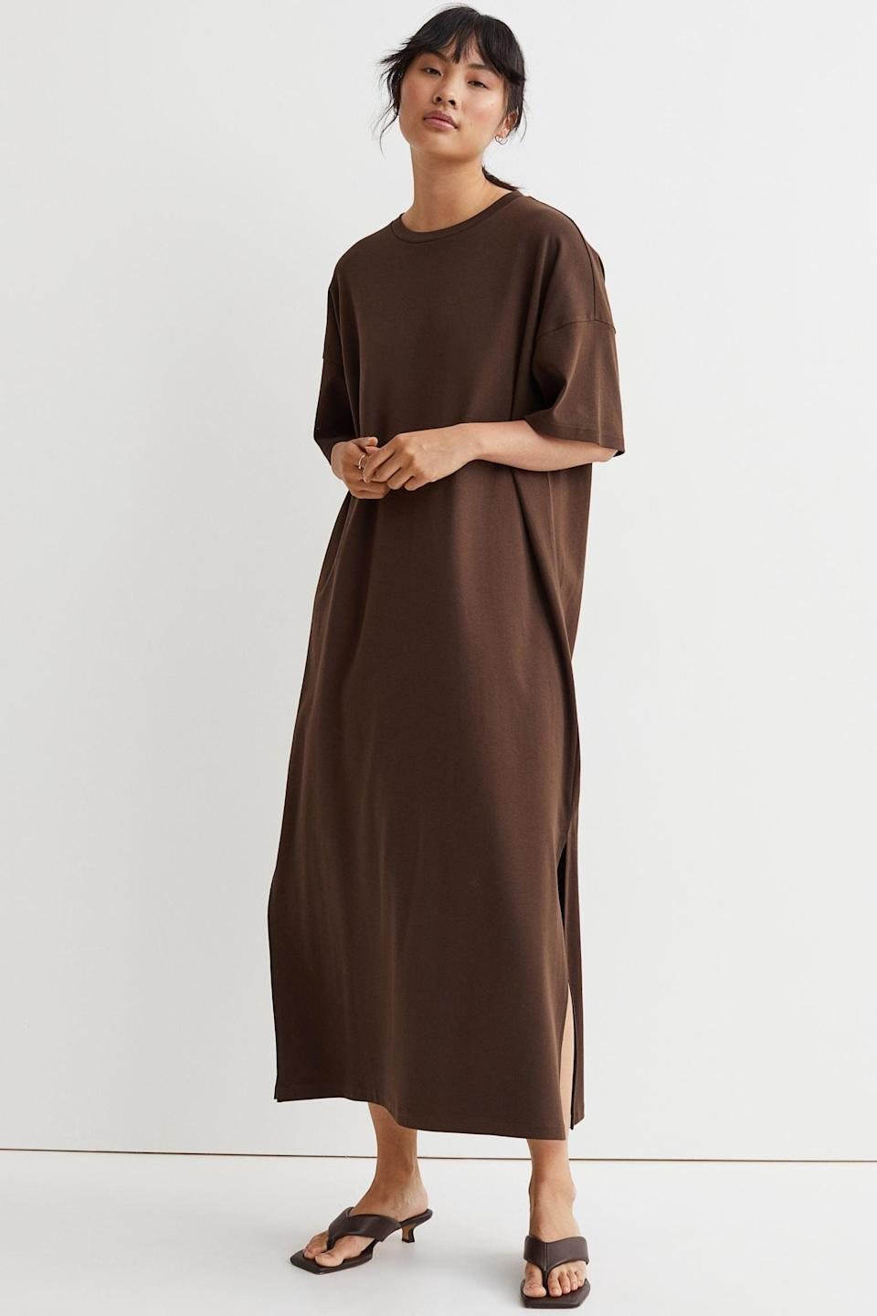 <p>Take a cute from the brand's styling, and elevate this <span>T-shirt Dress</span> ($25) with some thong sandals.</p>