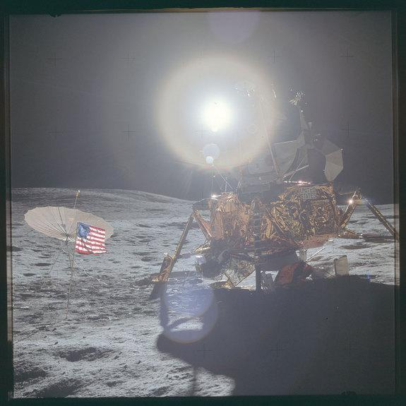 """Raw, unprocessed photo of the Apollo 14 lunar module """"Antares"""" taken on the moon in 1971."""