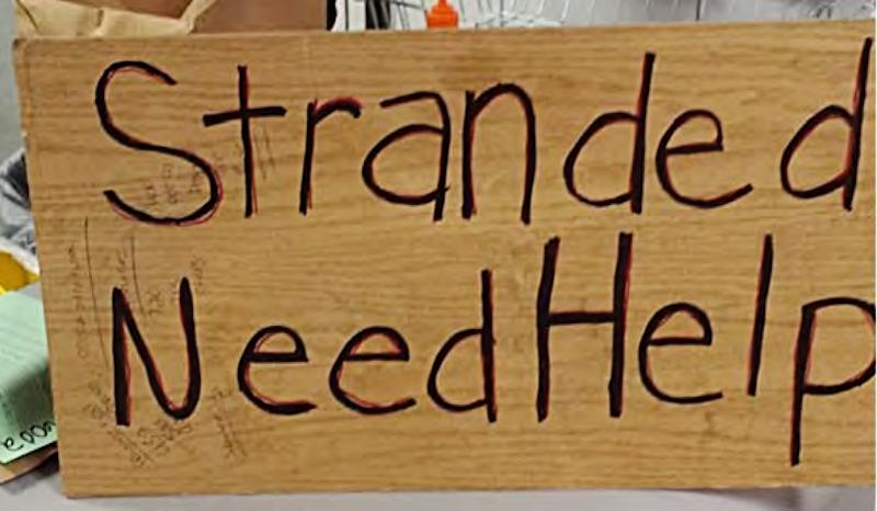 This undated photo provided by the Midland, Texas, Police Department shows a sign confiscated from a homeless person. Officers Derek Hester and Daniel Zoelzer were disciplined with a three-day suspension recently for having a contest to see who could confiscate the most signs. (AP Photo/Midland Police Department)