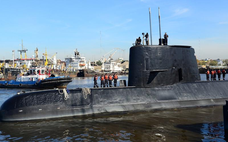 The Argentine military submarine ARA San Juan and crew are seen as they leave the port of Buenos Aires - REUTERS