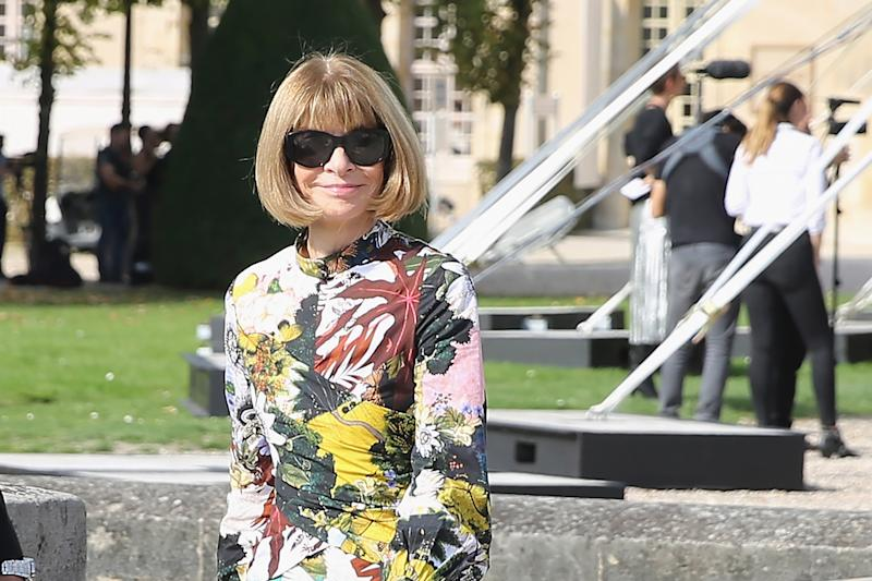 Editor in chief of Vogue Magazine, Anna Wintour, attends the Nina Ricci show as part of the Paris Fashion Week Womenswear Spring/Summer 2018 on September 29, 2017 in Paris, France. | Mireya Acierto—Getty Images.