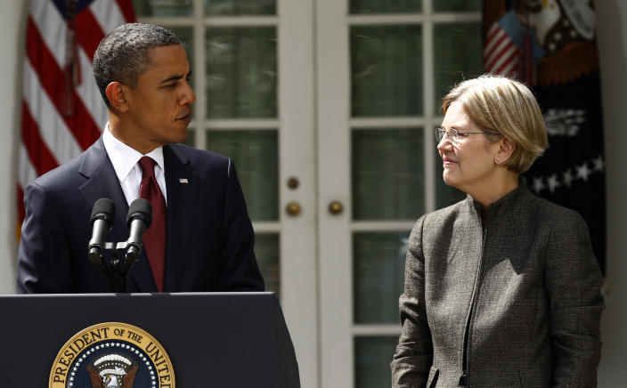 Barack Obama announced Elizabeth Warren as special adviser leading the creation of the Consumer Financial Protection Bureau in the Rose Garden of the White House in 2010. REUTERS/Kevin Lamarque