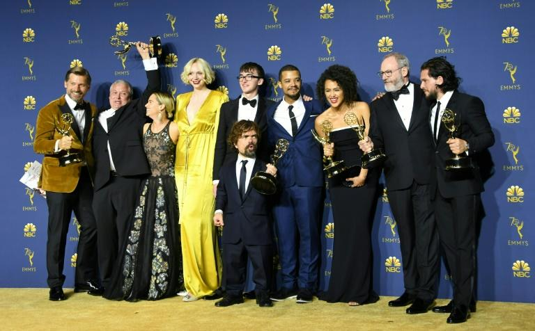 """""""Game of Thrones"""", the most decorated fictional show in Emmys history, has twice won 12 awards in a single year and is on pace to exceed that in 2019 -- the cast is seen here in 2018"""