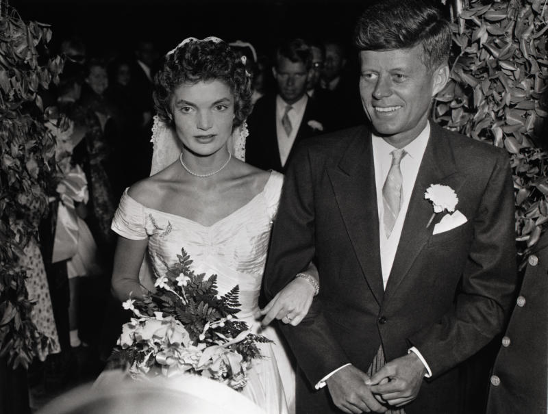 John F. Kennedy and Jacqueline Lee Bouvier wed on September 12, 1953, in St. Mary's Church in Newport, Rhode Island, USA.