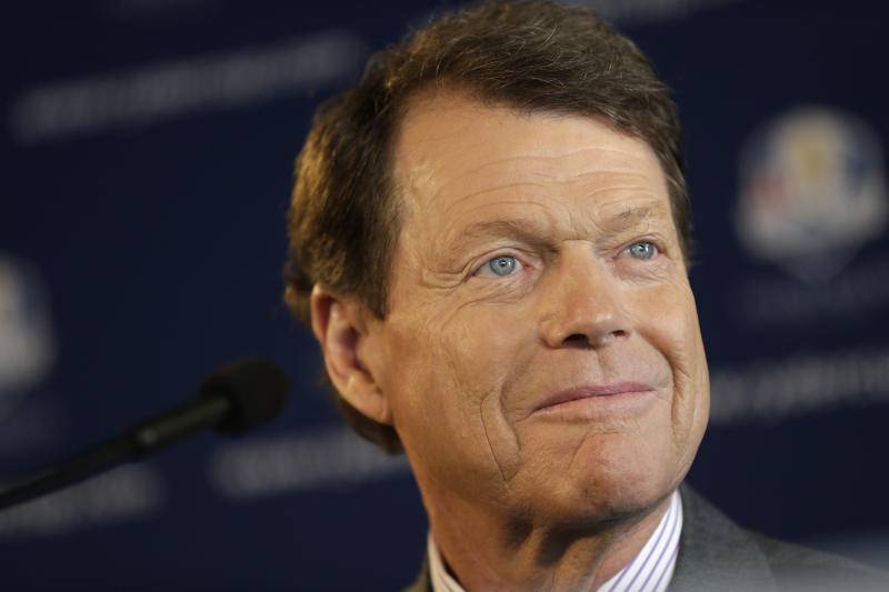 Tom Watson attends a news conference in New York, Thursday, Dec. 13, 2012.  The Americans are bringing back Watson as their Ryder Cup golf captain with hopes of ending two decades of losing in Europe. (AP Photo/Seth Wenig)