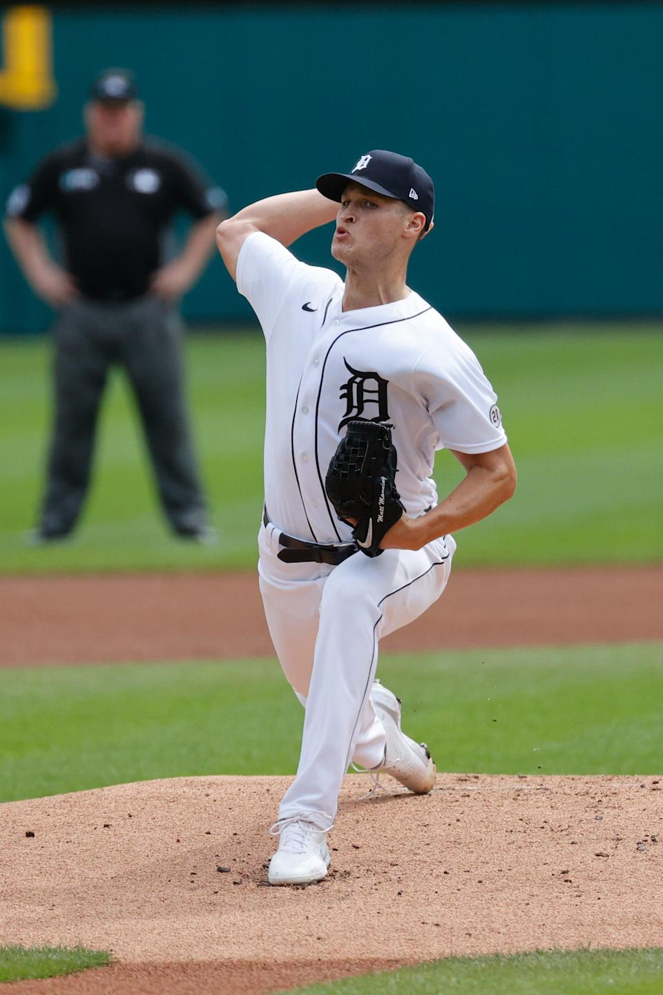 Detroit Tigers starting pitcher Matt Manning (25) pitches in the first inning against the Milwaukee Brewers at Comerica Park on Wednesday, Sept. 15, 2021.