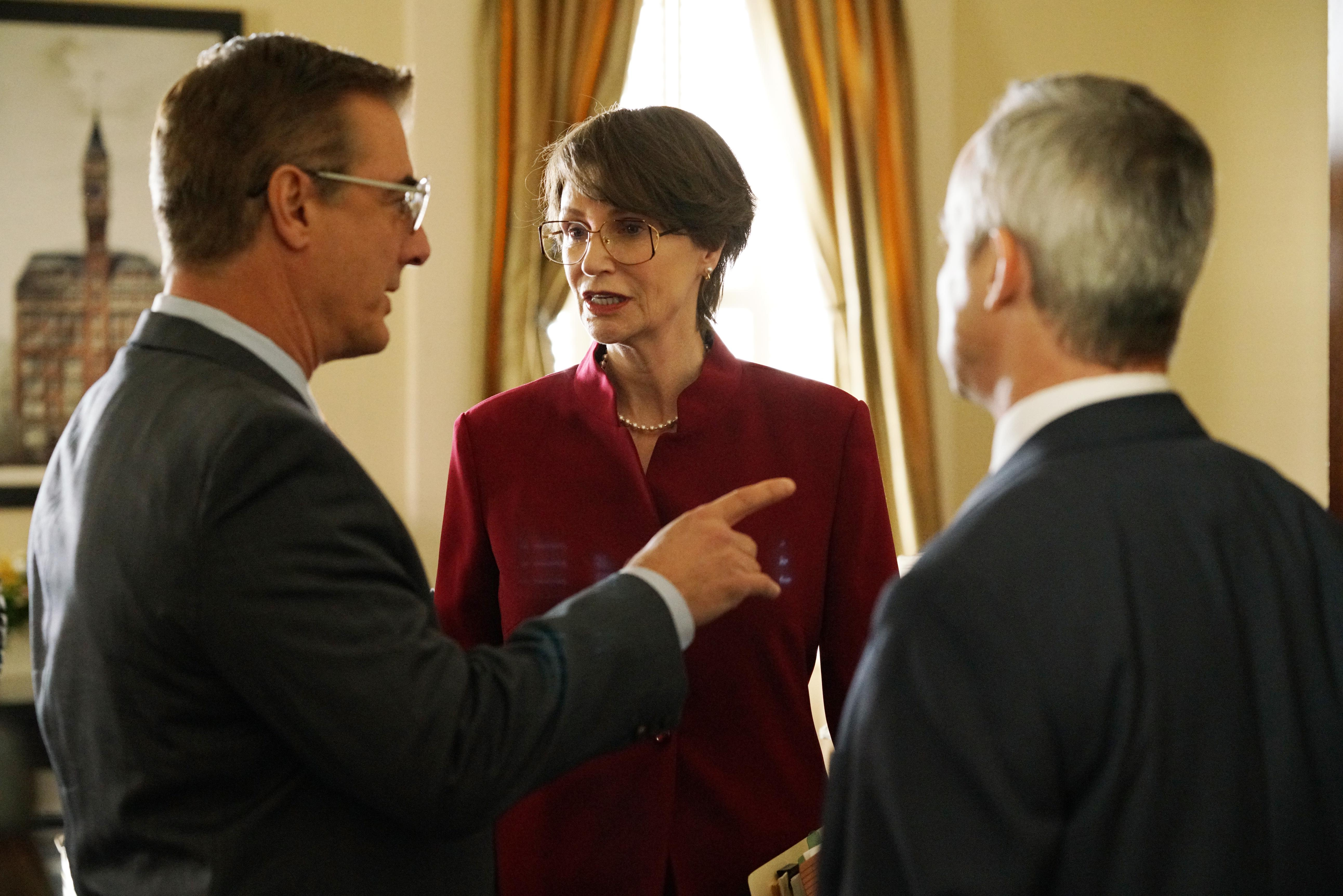 Chris North as Don Ackerman, Jane Lynch as Janet Reno, and Wallace Langham as Louis J. Freeh in Manhunt: Unabomber.