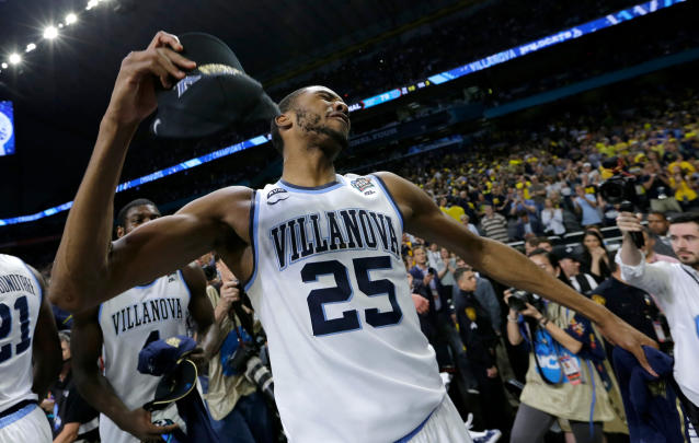 Villanova's Mikal Bridges (25) celebrates after the championship game of the Final Four NCAA college basketball tournament against Michigan, Monday, April 2, 2018, in San Antonio. Villanova won 79-62. (AP Photo/David J. Phillip)