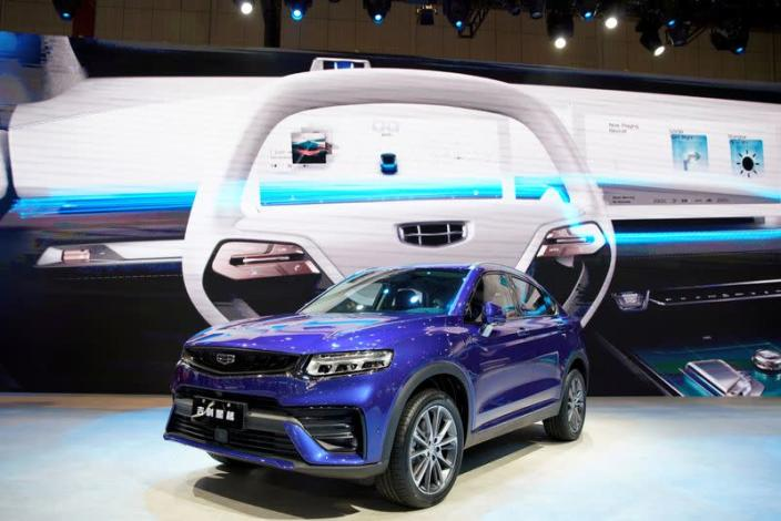 FILE PHOTO: Geely Xingyue is seen displayed at the second media day for the Shanghai auto show in Shanghai