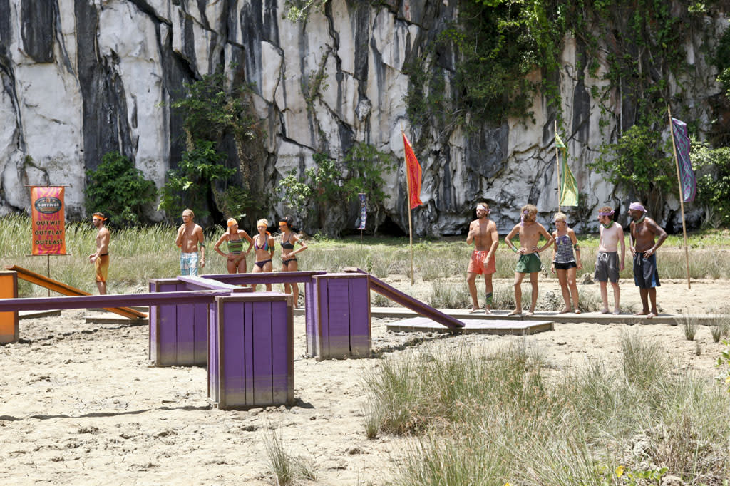 """Zipping Over the Cuckoo's Nest"" - The two teams split up to compete against each other in the Reward Challenge during the tenth episode of ""Survivor: Caramoan - Fans vs. Favorites."""