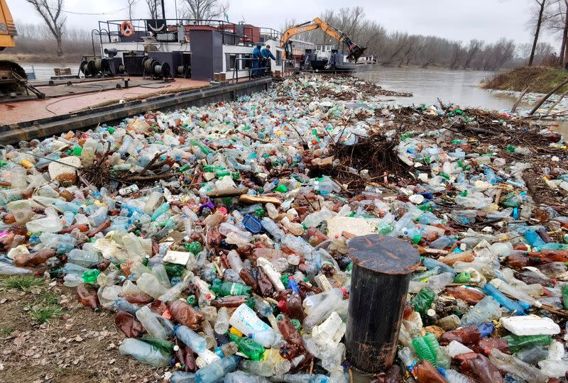 Plastic waste is seen in Tisza river in Vasarosnameny