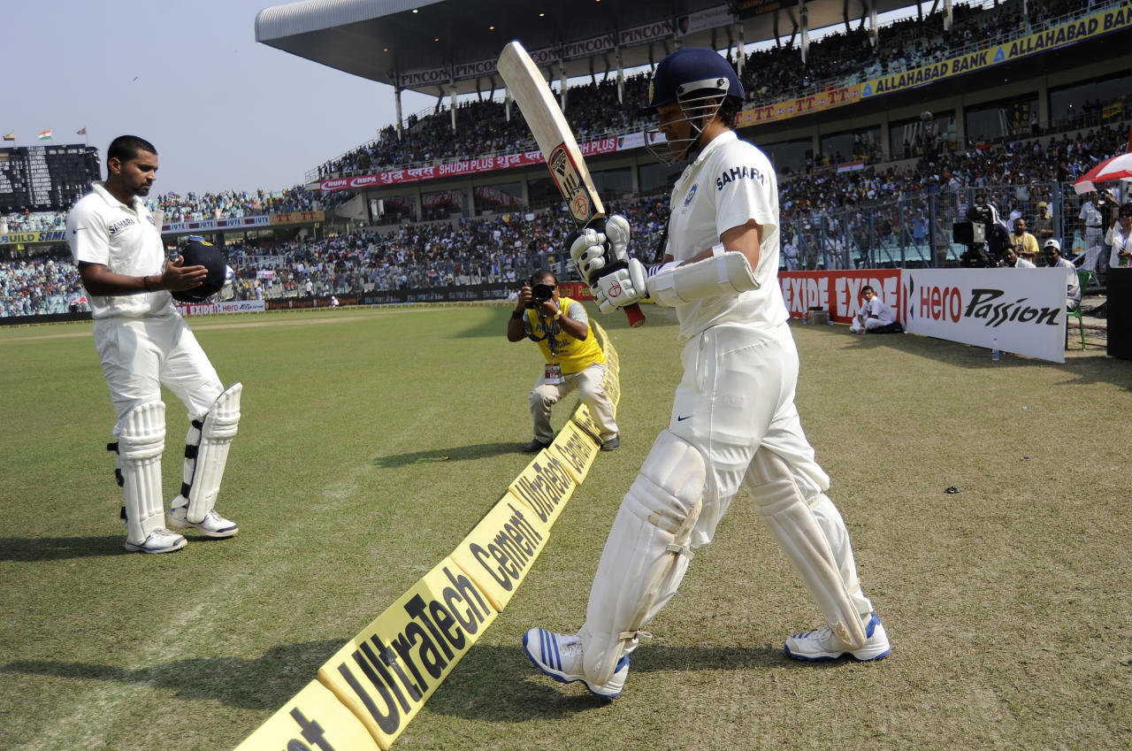 Sachin Tendulkar of India walks to bat during day two of the first Star Sports test match between India and The West Indies held at The Eden Gardens Stadium in Kolkata, India on the 7th November 2013 (BCCI)