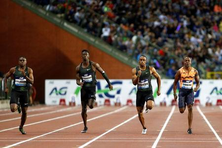 Athletics - IAAF Diamond League Final - King Baudouin Stadium, Brussels, Belgium - August 31, 2018 Christian Coleman of the U.S. beats Britain's Reece Prescott, Ronnie Baker of the U.S. and South Africa's Akani Simbine to win the men's 100m REUTERS/Francois Lenoir