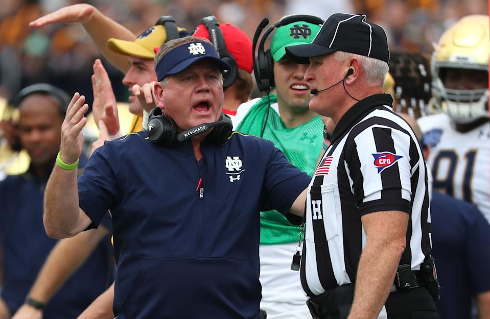 Notre Dame Fighting Irish head coach Brian Kelly reacts to the referee during a game against the Iowa State Cyclones. (USA TODAY Sports)