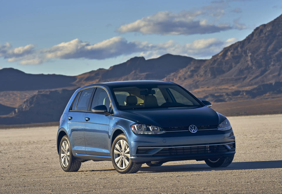 This photo provided by Volkswagen shows the 2021 Golf, a practical hatchback with lots of storage space and a comfortable ride. (Volkswagen of America via AP)