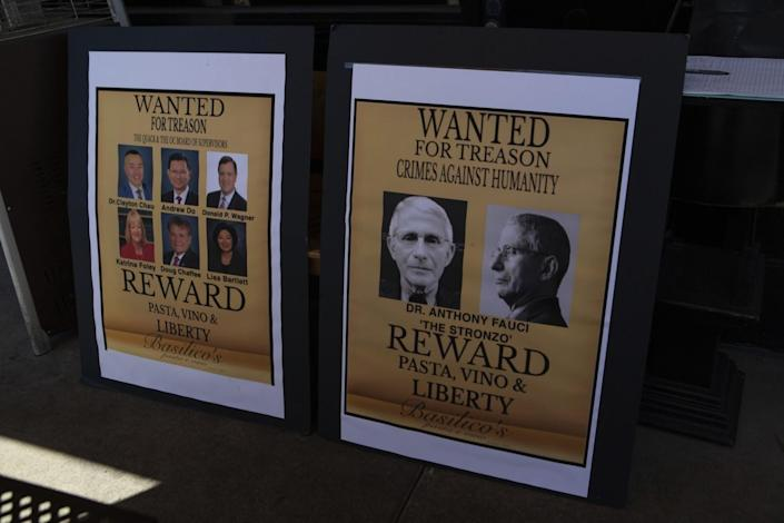 """""""Wanted"""" posters appear at Basilico's."""