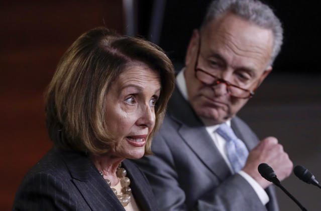 House Minority Leader Nancy Pelosi, D-Calif., joined at right by Senate Minority Leader Chuck Schumer, D-N.Y., holds a news conference on Capitol Hill to respond to the Republican tax reform plan in Washington, Thursday, Nov. 2, 2017. (AP Photo/J. Scott Applewhite)