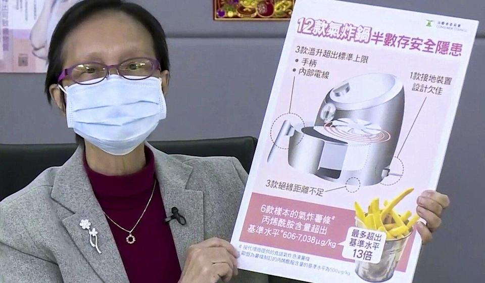 Professor Nora Tam Fung-yee, of the Consumer Council, speaks about the results of its air fryer tests on Wednesday. Photo: Facebook