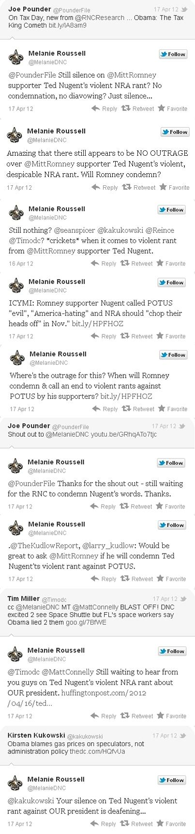 DNC Press Secretary Melanie Roussell Blasts Ted Nugent on Twitter