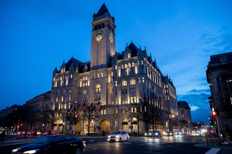 The Trump International Hotel near sunset Wednesday, Jan. 23, 2019, in Washington. (AP Photo/Alex Brandon)