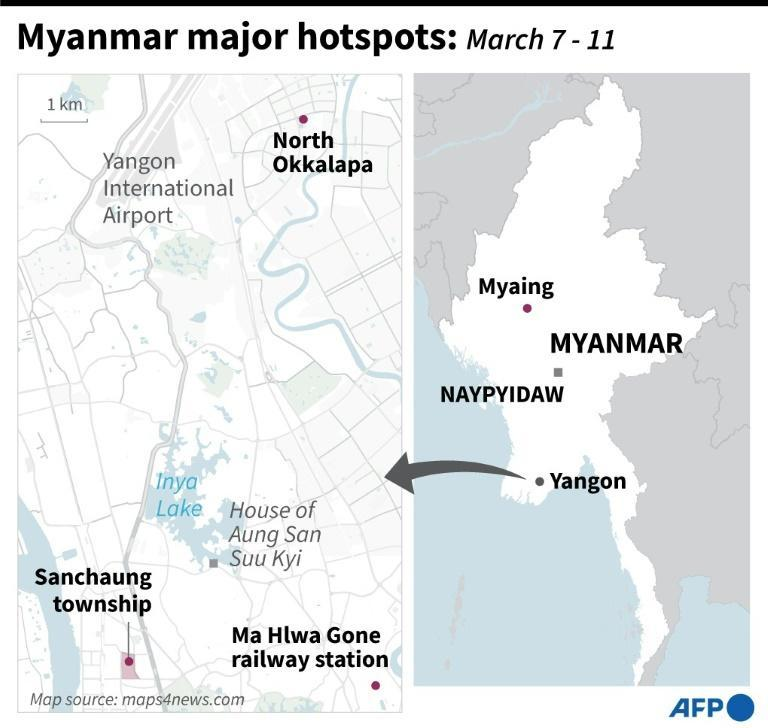 Major points of tension in Myanmar this week as anti-coup demonstrations continue across the country
