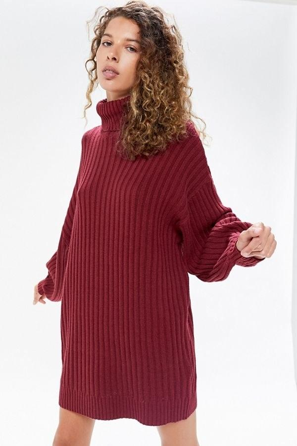 "$69, Urban Outfitters. <a href=""https://www.urbanoutfitters.com/shop/uo-jill-turtleneck-sweater-dress?color=061"">Get it now!</a>"