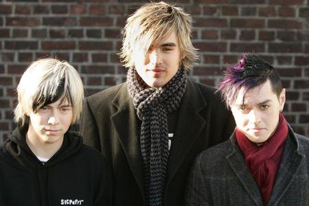 British rock band Busted arrive for Band Aid 20 recording in London.