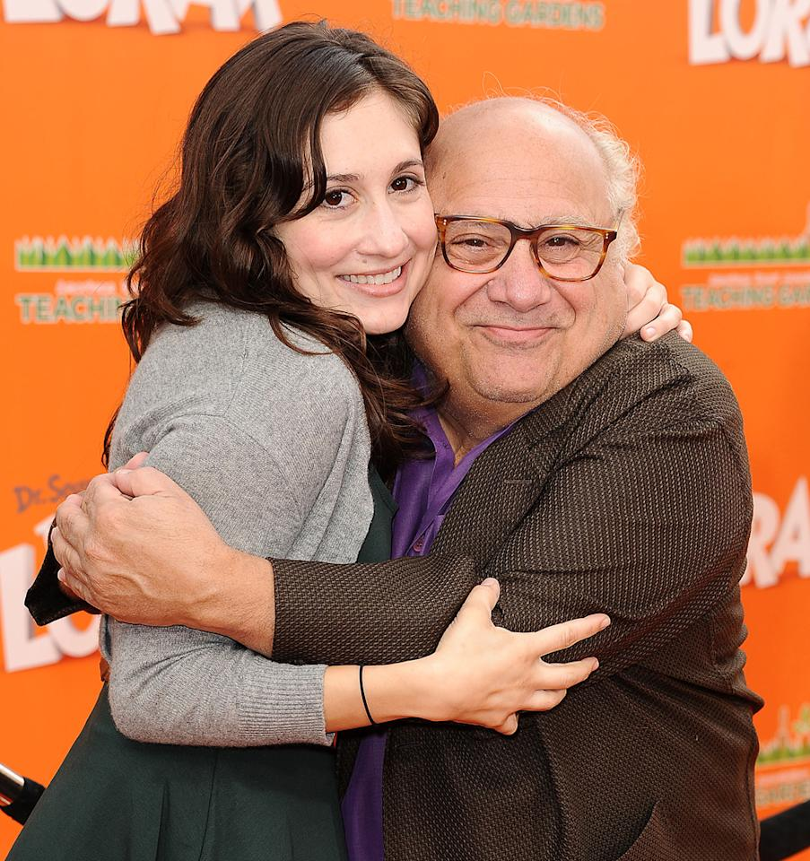"Lucy DeVito and Danny DeVito attend the premiere of Dr. Seuss' ""The Lorax"" at Universal Studios Hollywood on February 19, 2012 in Universal City, California.  (Photo by Jason LaVeris/FilmMagic)"