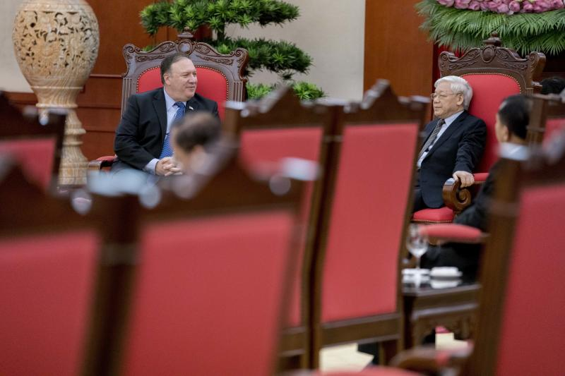 U.S. Secretary of State Mike Pompeo meets with Vietnamese Communist Party General Secretary Nguyen Phu Trong at the Office of the Party Central Committee in Hanoi, Vietnam, Sunday, July 8, 2018. Pompeo is on a trip traveling to North Korea, Japan, Vietnam, Abu Dhabi, and Brussels. (AP Photo/Andrew Harnik, Pool)