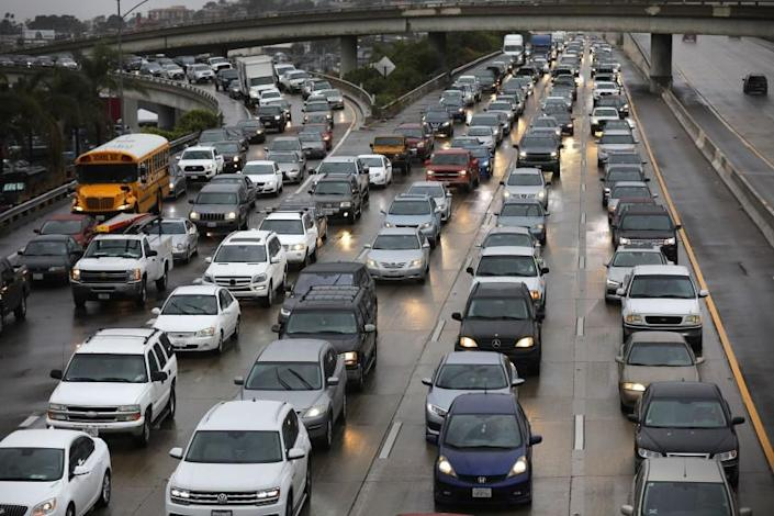 Traffic backs up on Interstate 5 near downtown San Diego in December 2019.