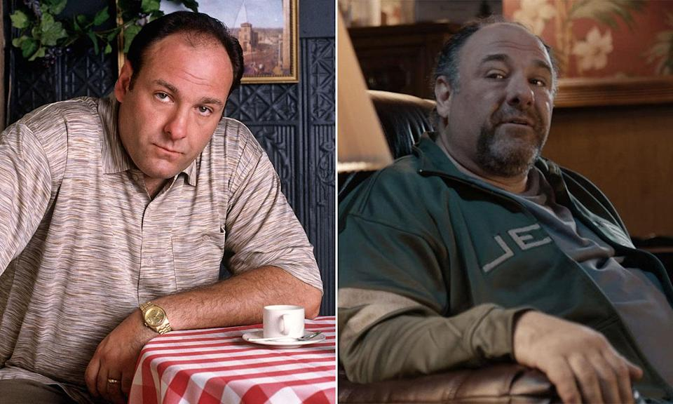 James Gandolfini in S1 of <i>The Sopranos</i> and in his final screen role in 2014's <i>The Drop</i>.