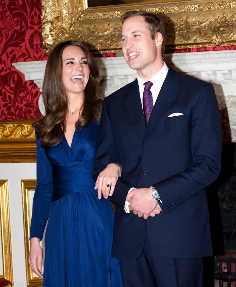 Prince William and Kate Middleton pose for photographs in the State Apartments of St James Palace after news of their engagement on Nov. 16, 2010 in London, England. (Samir Hussein via Getty Images)