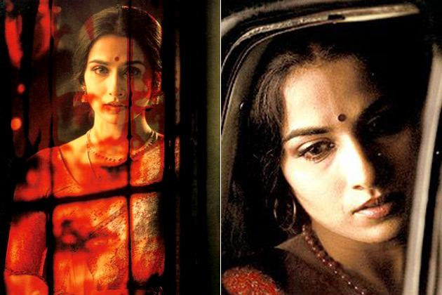 "<p class=""MsoNormal""><strong style="""">5. Vidya Balan:<br> </b>Bollywood's saree queen set hearts afire in her very first movie <em style="" "">'Parineeta'</em>. Low cut <em style="""">cholis</em> in flashy colours brought to life trends from the 80's.</p>"