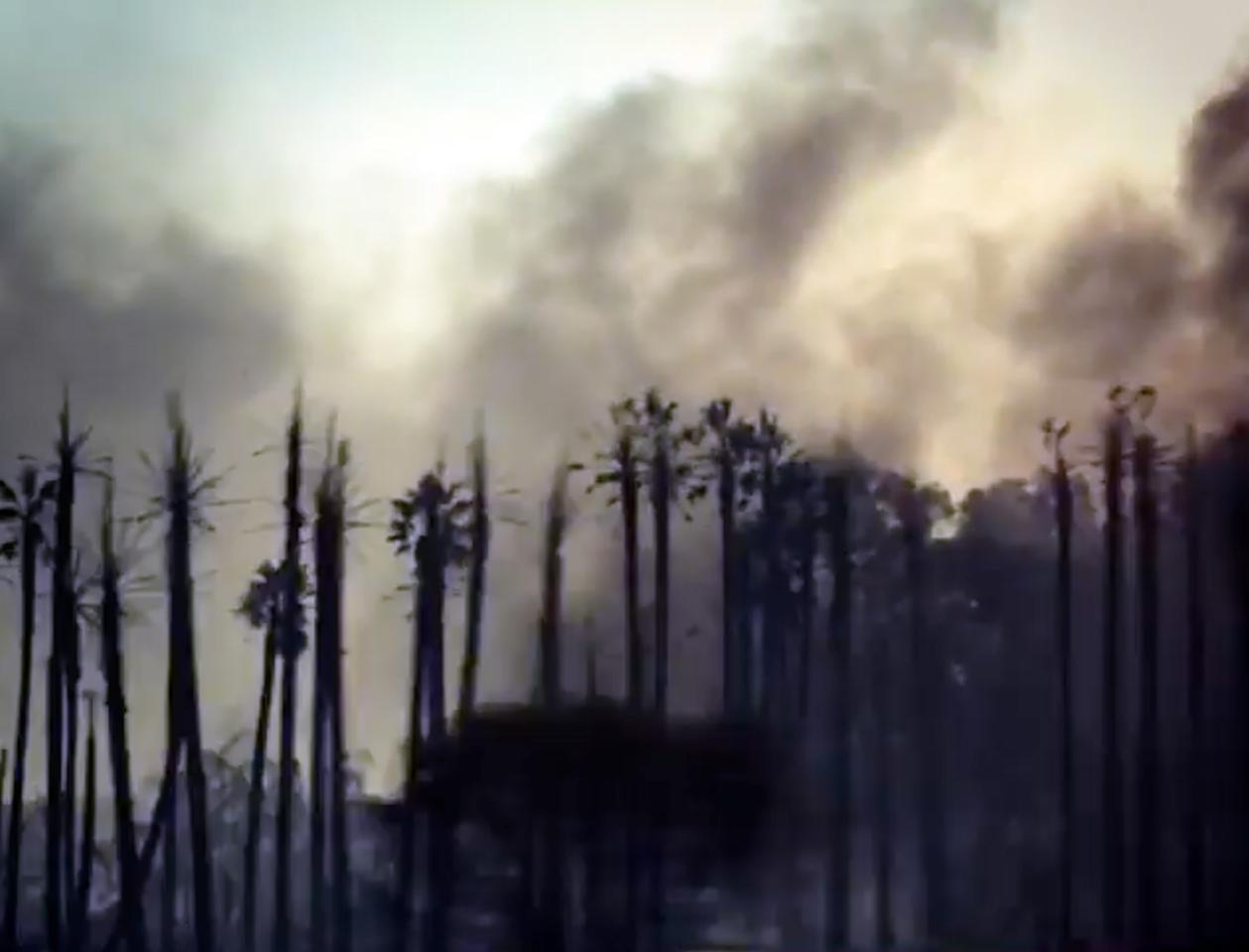 "This Sunday, Dec. 10, 2017, image made from a video on Rob Lowe's Instagram account shows palm trees and smoke as Lowe live-streams his family evacuating from their smoke-shrouded home, where a growing Southern California wildfire is threatening homes in the wealthy enclave of Montecito. ""Praying for the people in my area,"" Lowe said to his Instagram followers. ""Hope everybody's getting out safe like we are, and thanks for the prayers and thoughts. And good luck to the firefighters, we need you!"" (Rob Lowe/Instagram via AP)"