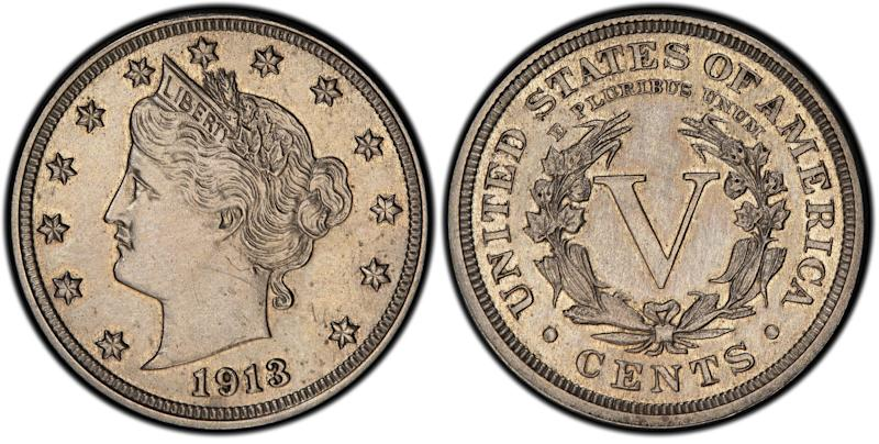 This image provided by Heritage Auctions shows an authentic 1913 Liberty Head nickel that was hidden in a Virginia closet for 41 years after its owners were mistakenly told it was a fake. The nickel is one of only five known and expected to sell for $2.5 million or more in an auction conducted by Heritage Auctions in the Chicago suburb of Schaumburg, Ill., on April 25, 2013.  (AP Photo/courtesy of Heritage Auctions.)