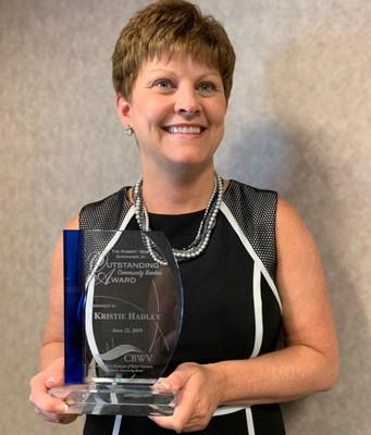 Kristie Hadley, VP-Market Leader for BCT-Bank of Charles Town, received West Virginia Outstanding Community Banker Award by Community Bankers of West Virginia (CBWV).
