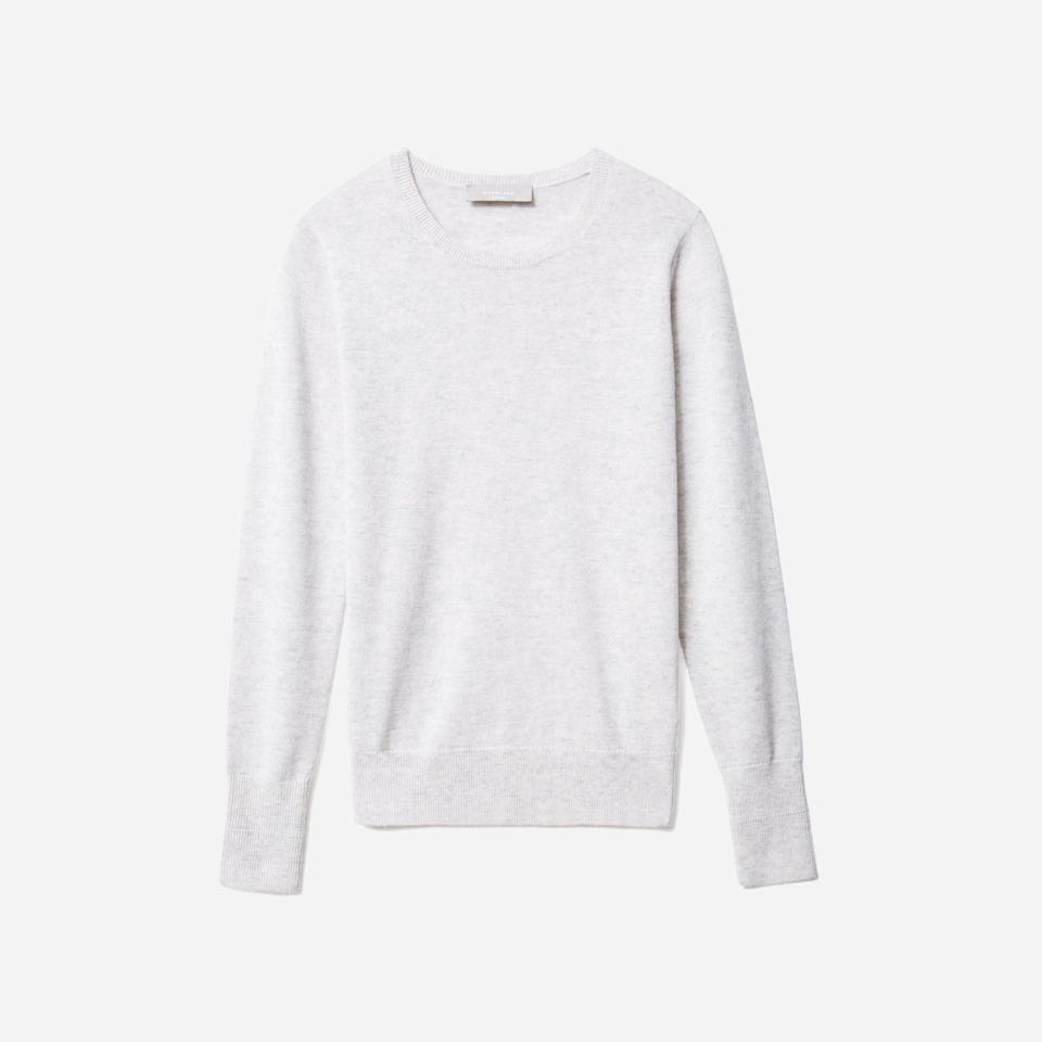 """<p><strong>Everlane</strong></p><p>everlane.com</p><p><a href=""""https://go.redirectingat.com?id=74968X1596630&url=https%3A%2F%2Fwww.everlane.com%2Fproducts%2Fwomens-cashmere-crew-glacier&sref=https%3A%2F%2Fwww.seventeen.com%2Ffashion%2Fg37090791%2Feverlane-summer-sale-best-items%2F"""" rel=""""nofollow noopener"""" target=""""_blank"""" data-ylk=""""slk:Shop Now"""" class=""""link rapid-noclick-resp"""">Shop Now</a></p><p><del><strong>$100</strong></del><strong> $70</strong></p><p>Tie it over your shoulders, tuck it into a skirt, or incorporate it into your loungewear wardrobe. Whatever your cozy dressing preference, this butter soft cashmere can do it all. Oh, and it comes in 13 shades. <strong><br></strong></p>"""