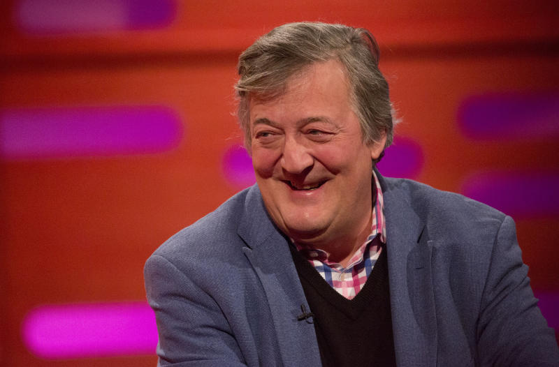 Stephen Fry during filming of the Graham Norton Show at The London Studios, to be aired on BBC One on Friday. PRESS ASSOCIATION. Picture date: Thursday November 30, 2017. Photo credit should read: Isabel Infantes/PA Wire (Photo by Isabel Infantes/PA Images via Getty Images)